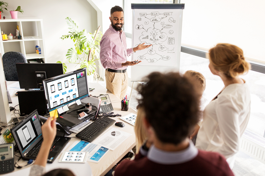Female and Male professionals collaborating in front of computer monitors and a white board stand to come up with creative ideas