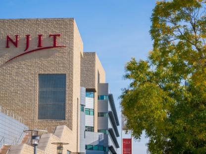 Photo Campus Center and NJIT Logo