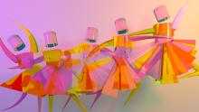 Colorful image of animated geometric dancers leaping across the screen